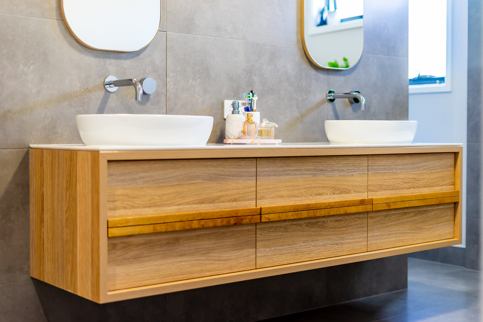 wooden bathroom vanity 2 sinks in Sorrento bathroom renovation
