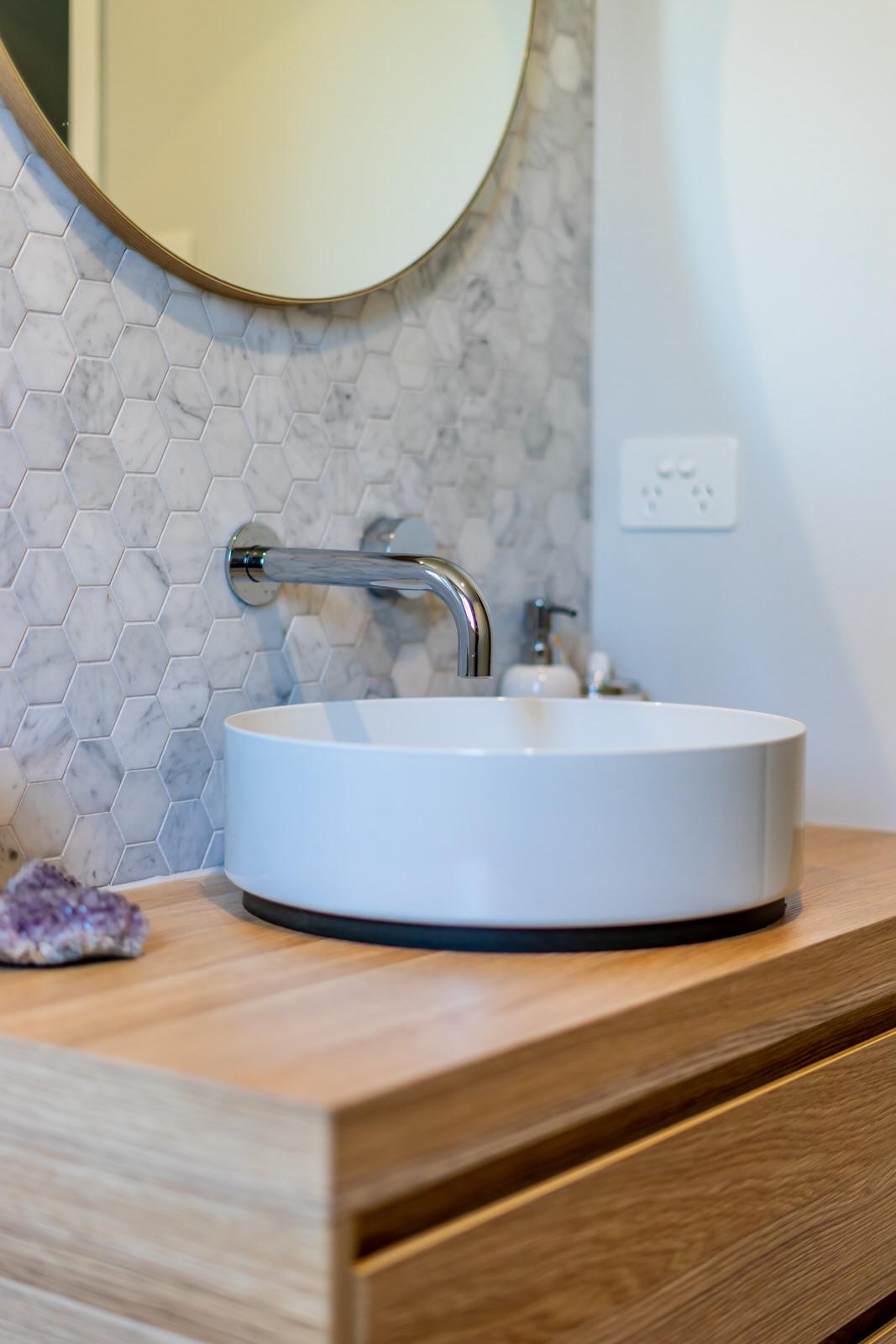 sink closeup in bathroom renovation